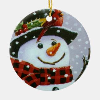 Christmas Circle Ornament/Snowman Round Ceramic Ornament