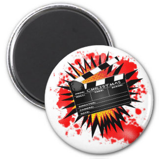 Christmas Clapperboard 2 Inch Round Magnet