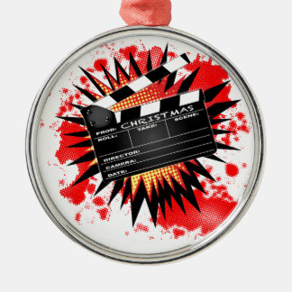 Christmas Clapperboard Silver-Colored Round Ornament
