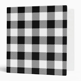 Christmas classic Buffalo check plaid pattern B&W 3 Ring Binder