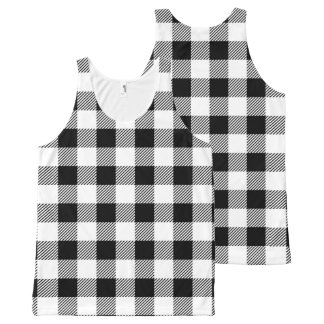 Christmas classic Buffalo check plaid pattern B&W All-Over-Print Tank Top