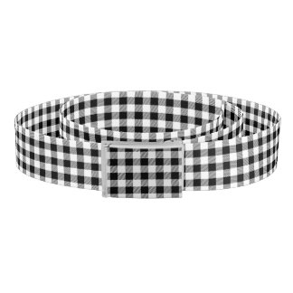 Christmas classic Buffalo check plaid pattern B&W Belt