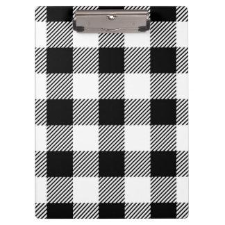 Christmas classic Buffalo check plaid pattern B&W Clipboard