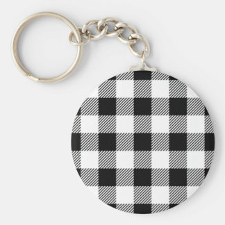 Christmas classic Buffalo check plaid pattern B&W Keychain