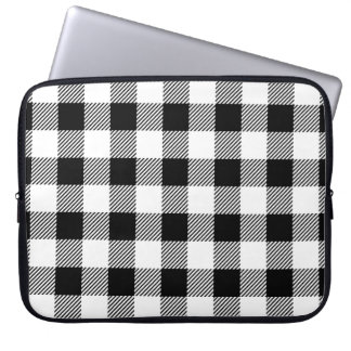Christmas classic Buffalo check plaid pattern B&W Laptop Sleeve