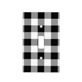Christmas classic Buffalo check plaid pattern B&W Light Switch Cover