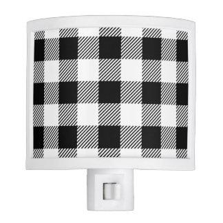Christmas classic Buffalo check plaid pattern B&W Nite Lights
