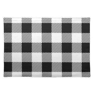 Christmas classic Buffalo check plaid pattern B&W Placemat
