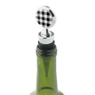 Christmas classic Buffalo check plaid pattern B&W Wine Stopper
