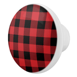 Christmas classic Buffalo check plaid pattern Ceramic Knob