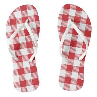 Christmas classic Buffalo check plaid pattern Flip Flops