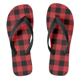 Christmas classic Buffalo check plaid pattern Flip Flops