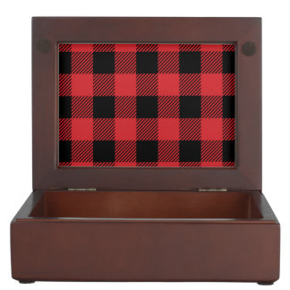 Christmas classic Buffalo check plaid pattern Keepsake Box