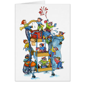 Christmas Cleaning Service Trolley Greeting Card