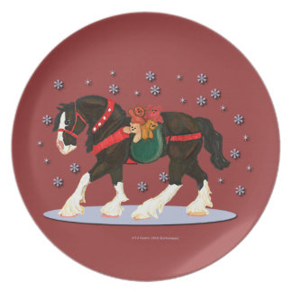 Christmas Clydesdale Horse and Teddies Plate