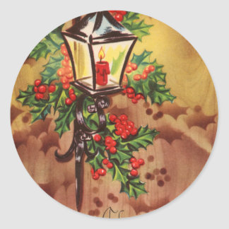 Christmas Coach Light Greetings Classic Round Sticker