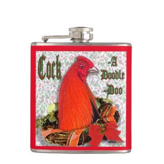 Christmas Cockadoodledoo Hip Flask