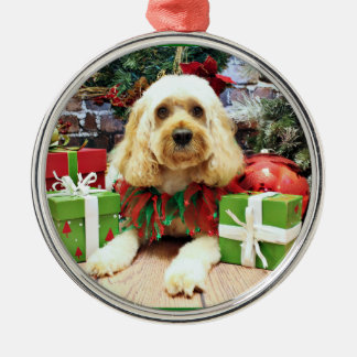 Christmas - Cockapoo - Buddy Silver-Colored Round Ornament