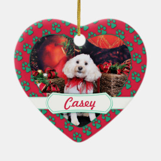 Christmas - Cockapoo - Casey Ceramic Heart Ornament