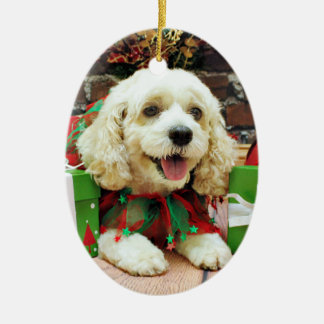Christmas - Cockapoo - Clancy Ceramic Oval Ornament