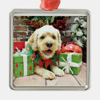 Christmas - Cockapoo - Cooper Silver-Colored Square Ornament