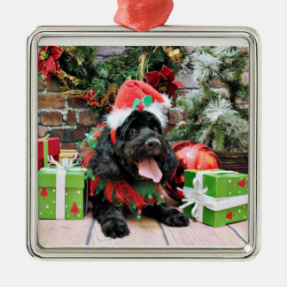 Christmas - Cockapoo - Jack Silver-Colored Square Ornament