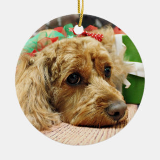 Christmas - Cockapoo - Odie Round Ceramic Ornament