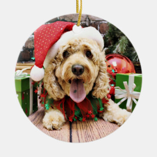 Christmas - Cockapoo - Sadie Round Ceramic Ornament
