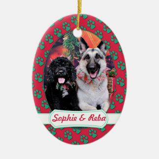 Christmas - Cockapoo Sophie - Reba Shepherd Ceramic Oval Ornament