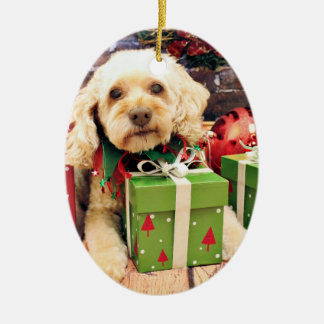 Christmas - Cockapoo - Trailer Ceramic Oval Ornament