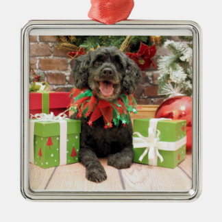 Christmas - Cockapoo - Trumbo Silver-Colored Square Ornament