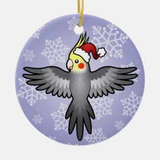Christmas Cockatiel Round Ceramic Ornament