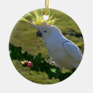 Christmas Cockatoo Bird in Australia Ceramic Ornament