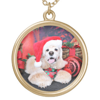 Christmas - Cocker Spaniel - Tobey Gold Plated Necklace