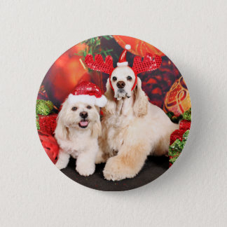 Christmas - Cocker - Toby, Havanese - Little T 2 Inch Round Button