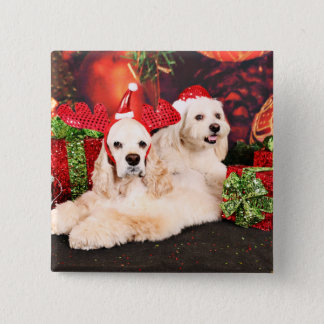 Christmas - Cocker - Toby, Havanese - Little T 2 Inch Square Button