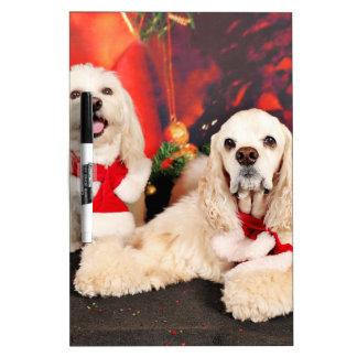 Christmas - Cocker - Toby, Havanese - Little T Dry Erase Board