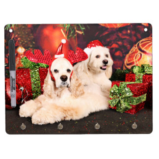 Christmas - Cocker - Toby, Havanese - Little T Dry Erase Board With Keychain Holder