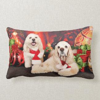 Christmas - Cocker - Toby, Havanese - Little T Lumbar Pillow