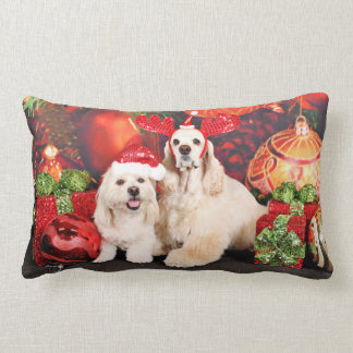 Christmas - Cocker - Toby, Havanese - Little T Lumbar Pillow