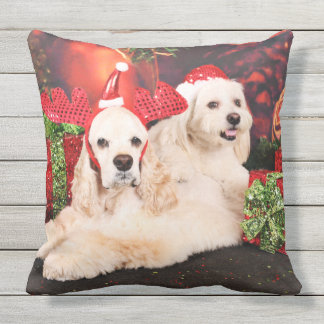 Christmas - Cocker - Toby, Havanese - Little T Outdoor Pillow