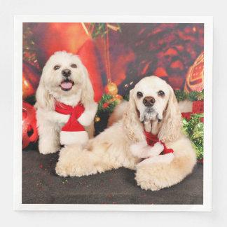 Christmas - Cocker - Toby, Havanese - Little T Paper Napkin