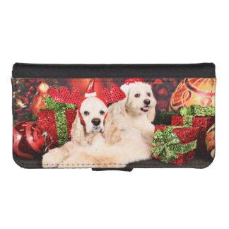 Christmas - Cocker - Toby, Havanese - Little T Phone Wallets