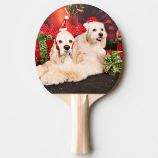 Christmas - Cocker - Toby, Havanese - Little T Ping-Pong Paddle