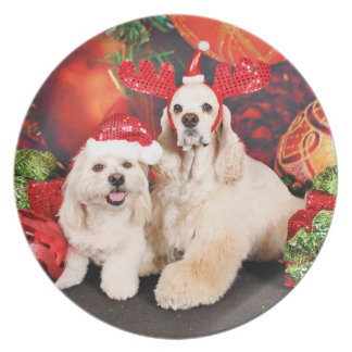Christmas - Cocker - Toby, Havanese - Little T Plate