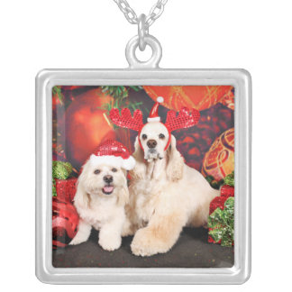 Christmas - Cocker - Toby, Havanese - Little T Silver Plated Necklace