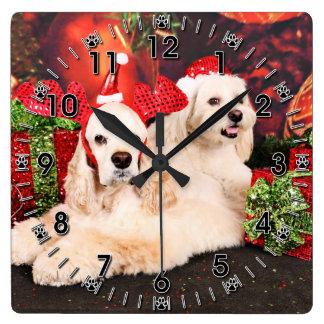 Christmas - Cocker - Toby, Havanese - Little T Square Wall Clock