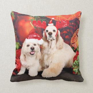 Christmas - Cocker - Toby, Havanese - Little T Throw Pillow