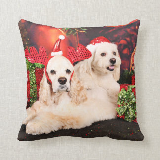 Christmas - Cocker - Toby, Havanese - Little T Throw Pillow