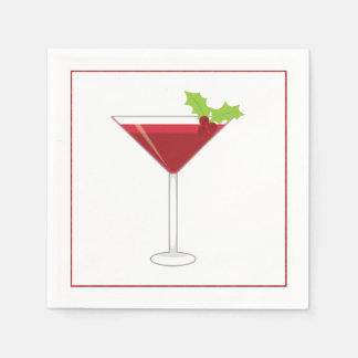 Christmas Cocktail Napkin with martini, olive and Disposable Napkin